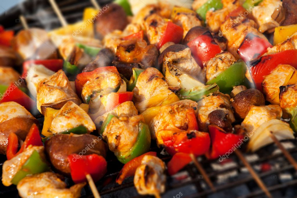 BBQ barbecuing skewers kebab
