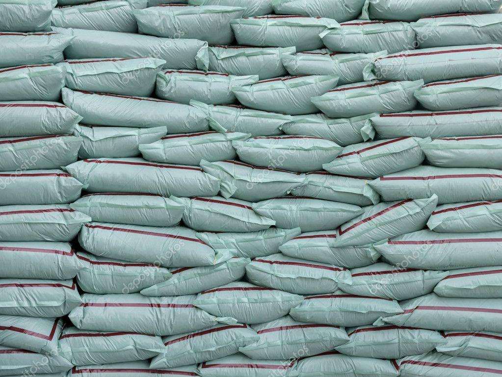 Plastic bags of fertilizer many.