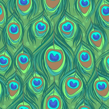 Colorful peacock feather seamless pattern