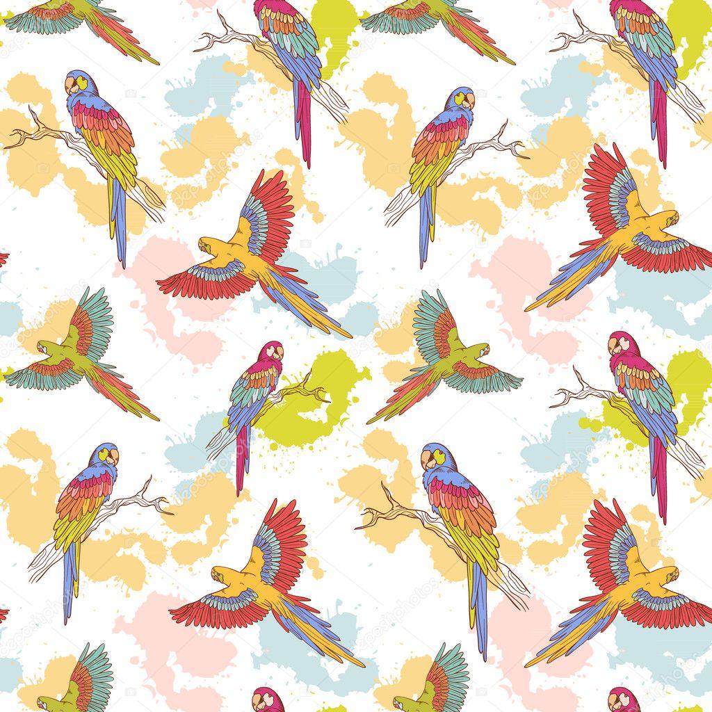 Parrot ara seamless grunge pattern