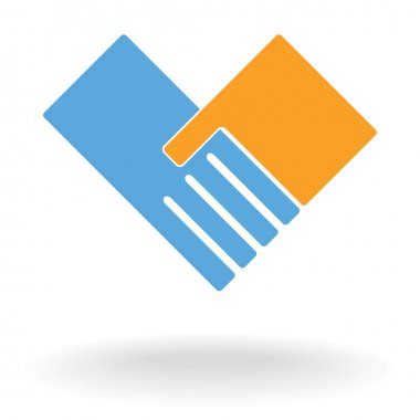 Support hand like heart background. Vector logo pattern illustration . clip art vector