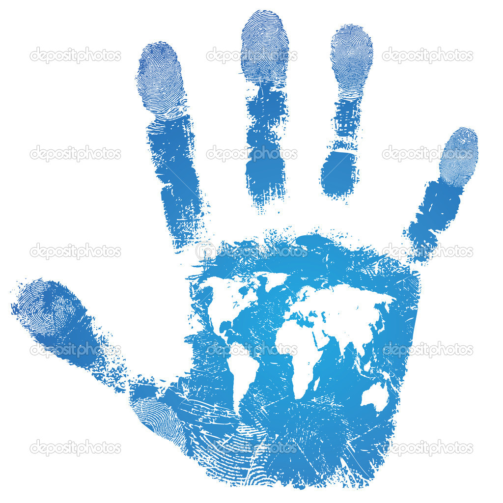 Hand world map print