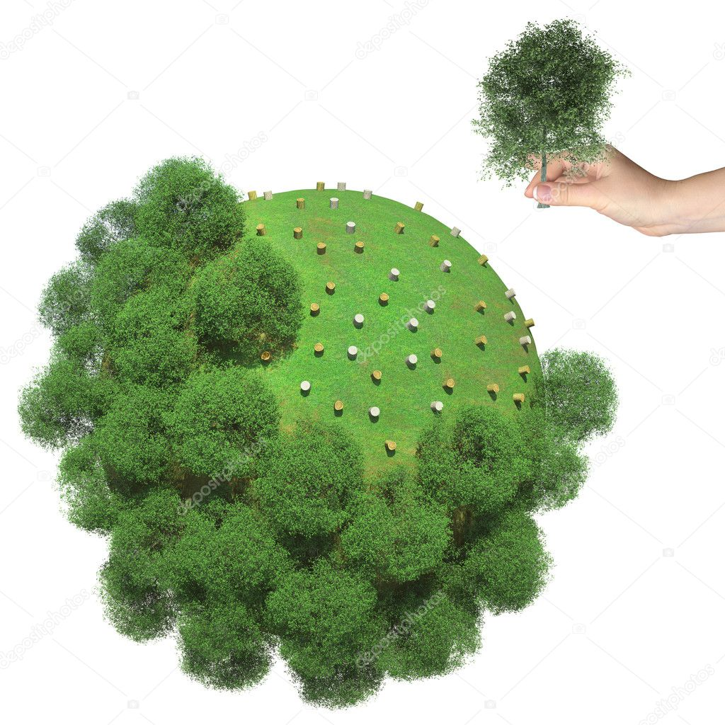 Deforestation on the little green planet. Human hand holds cut tree