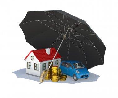Black umbrella covers home, car and money