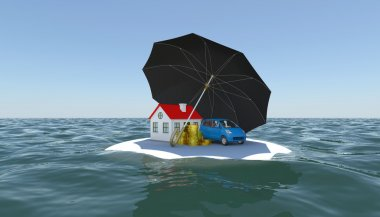House, car and money covered with an umbrella on a white island in the water
