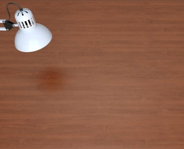 White lamp and wooden work table