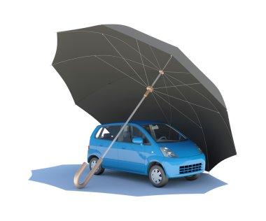 Umbrella covering blue car