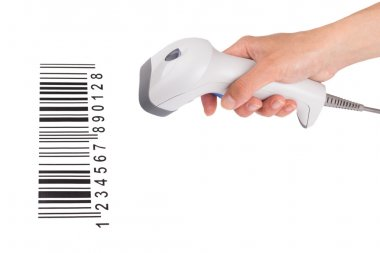 The manual scanner of bar code in a female hand with the barcode isolated on a white background