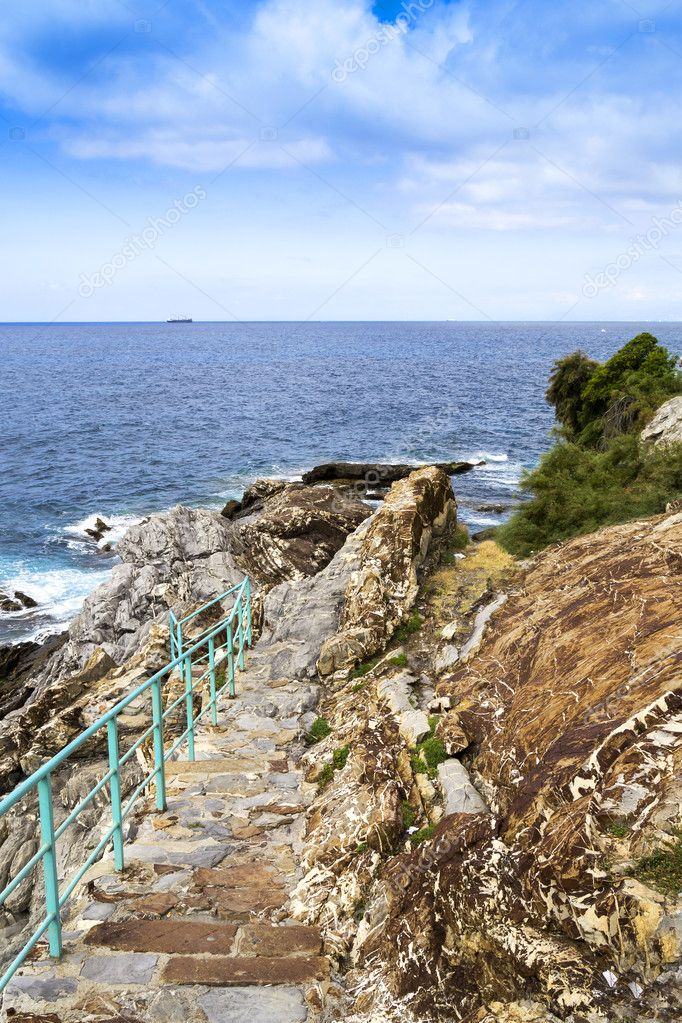 Stairway to the sea on the promenade of Genoa Nervi