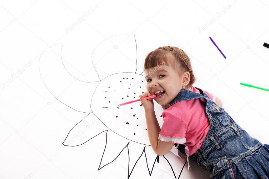 Niña Feliz Dibujo — Foto De Stock