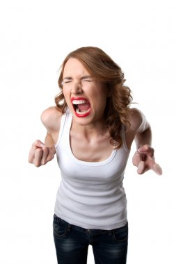 Aggressive woman in tank top cry isolated