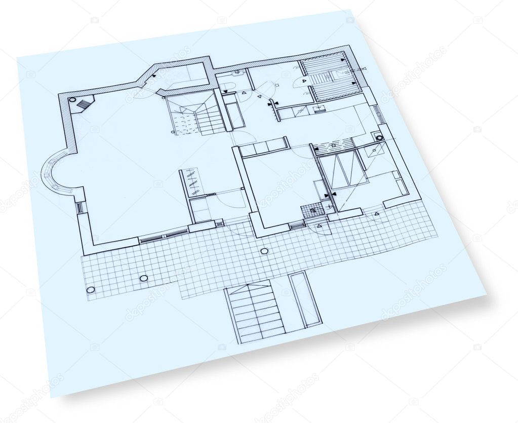Individual house construction drawings blueprint