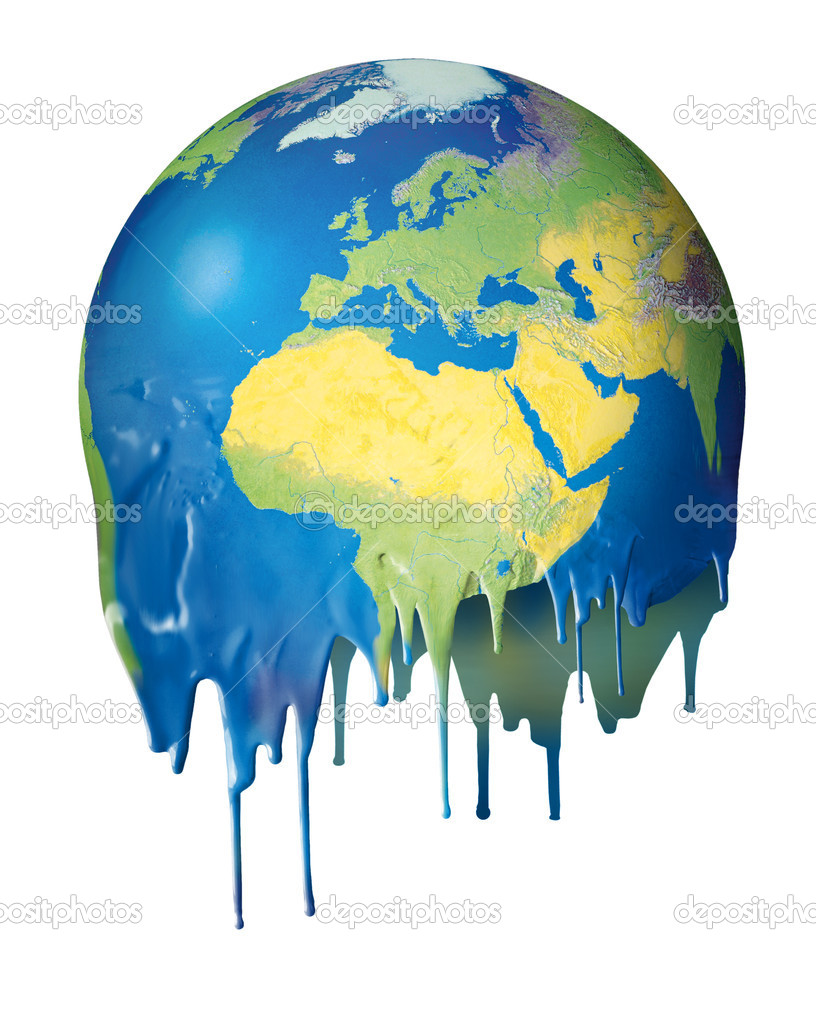 Global Warming Earth Melting on cartoon gl clipart