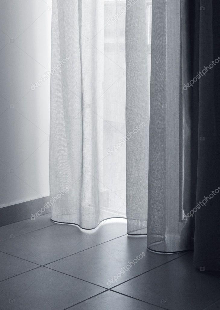 dunne gordijnen zacht licht — Stockfoto © anterovium #11748054