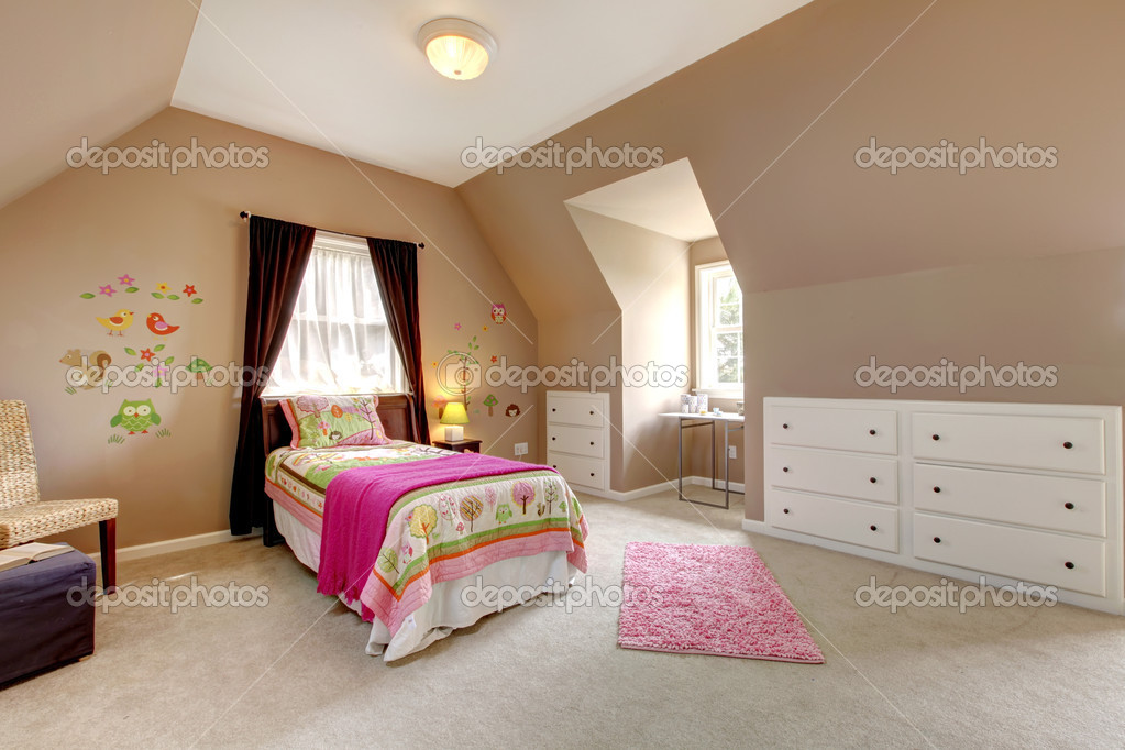 pink and brown bedrooms large brown baby bedroom with pink bed stock photo 16678