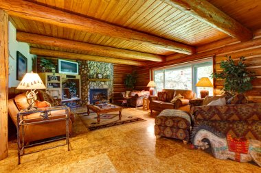 Log cabin living room interior.