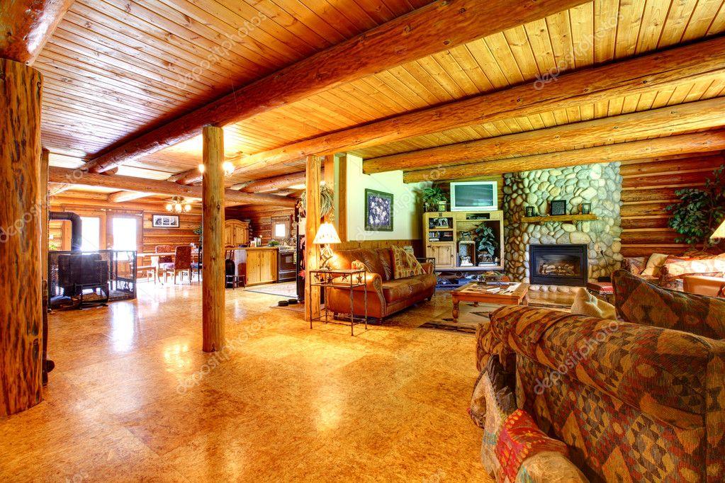 Log Cabin Rustic Living Room Interior Stock Photo