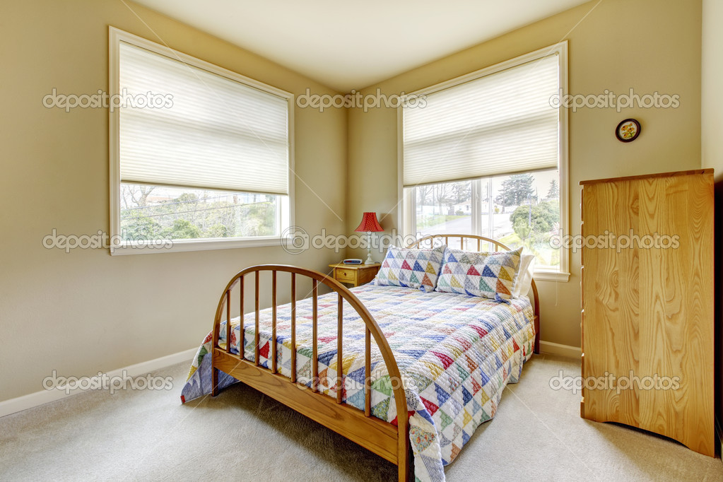 Simple Guest Bedroom simple guest bedroom with wood old bed. — stock photo © iriana88w