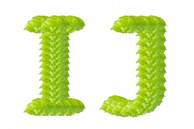 Green leaf I and J alphabet character.