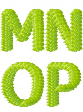 Green leaf M N O P alphabet character.