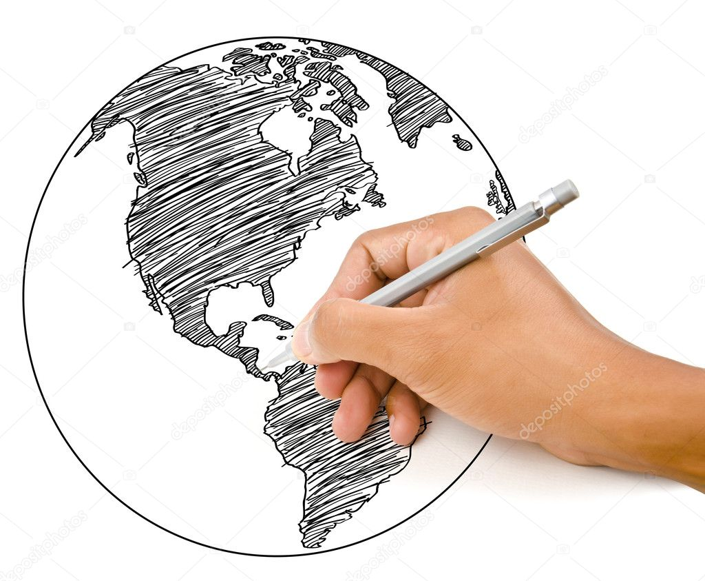Hand drawing world map globe line on the whiteboard stock photo hand drawing world map globe line on the whiteboard stock photo gumiabroncs Images
