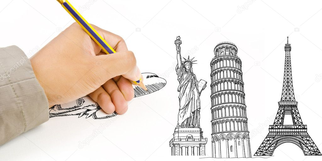 Hand Drawing Statue of Liberty, Pisa Tower, Eiffel Tower