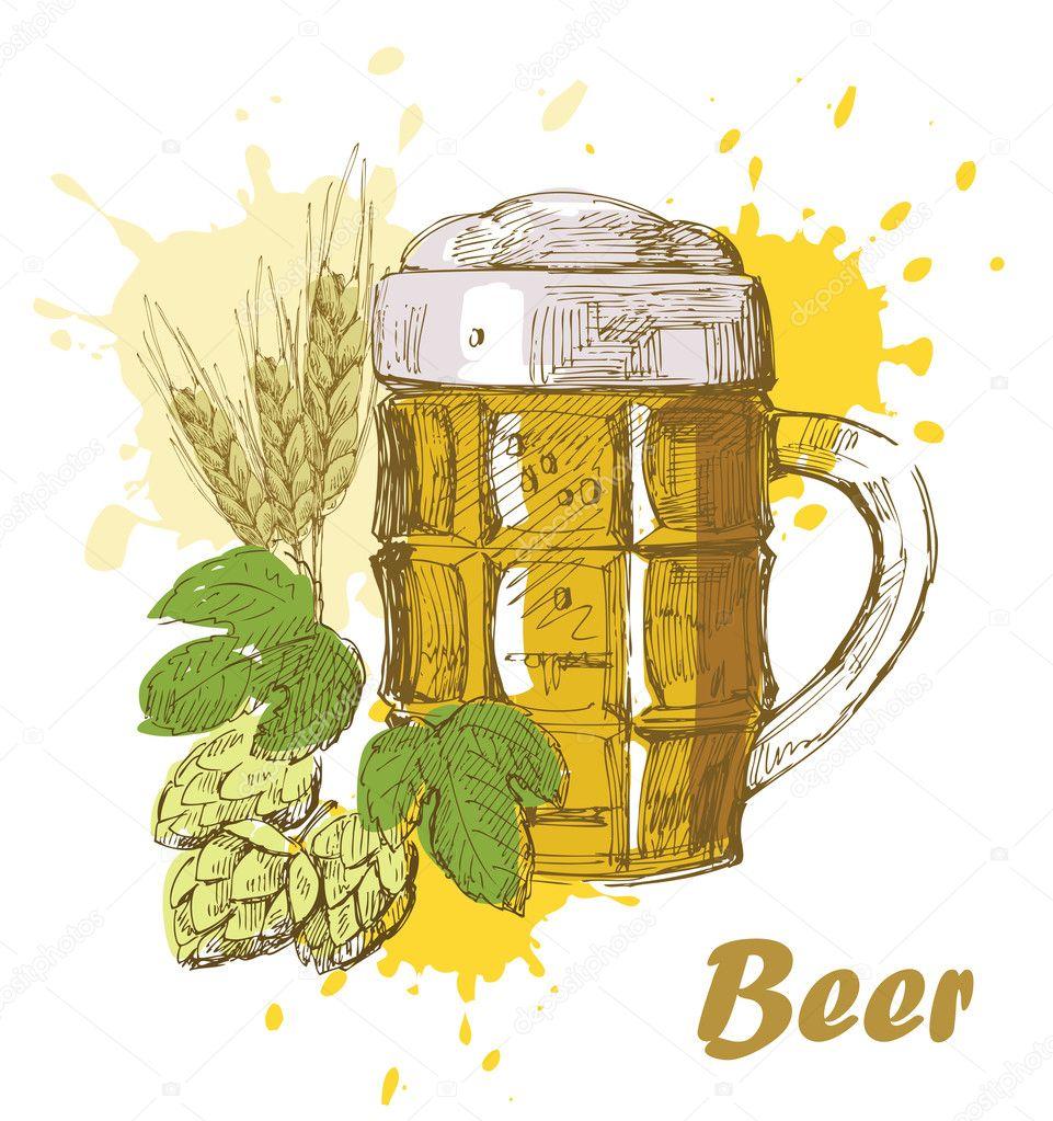 Hand Draw Beer Stock Vector C Bioraven 10962973