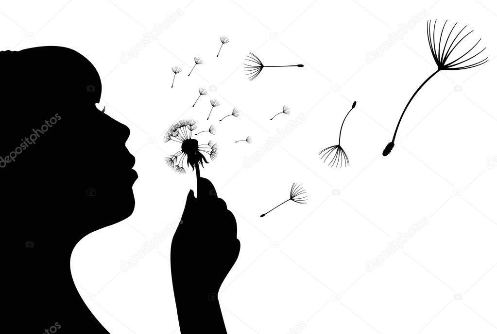 Dandelion flower and girl