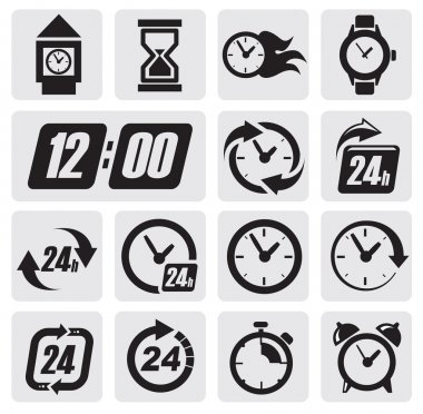 Vector black clocks icons in the gray squares clip art vector