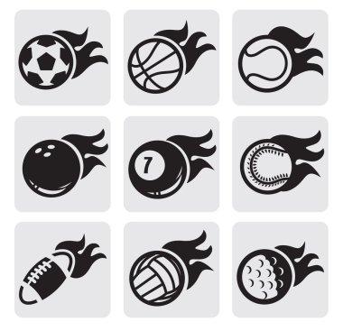 Sports balls on fire