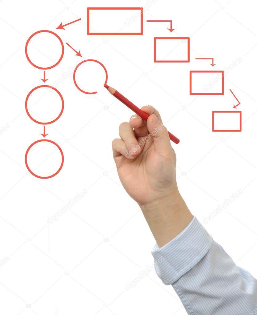 Mano de hombre de negocios dibujando un diagrama de flujo de vaco mano de hombre de negocios dibujando un diagrama de flujo de vaco foto de stock ccuart Images