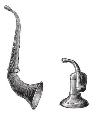 Ear trumpets, vintage engraving.