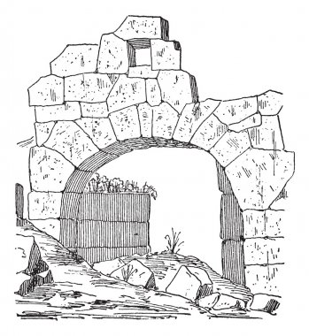 Construction of a fortification door made of stone, Masonry arch