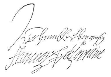 Signature of Francois de Lorraine, Duke of Guise (1519-1562), vi