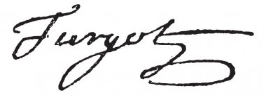 Signature of Anne-Robert-Jacques Turgot or Baron de Laune or Tur