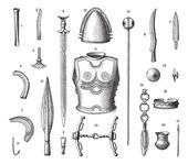 Photo French Armor and Weapons During the Younger Bronze Age, vintage