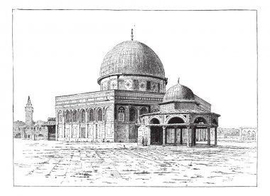 Mosque of Omar, Jerusalem, vintage engraving.