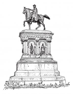 Statue of Charlemagne in Liege, Belgium, vintage engraving