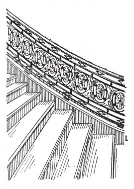 Stone Staircase made of Silt, vintage engraving