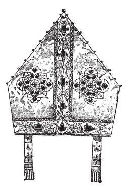 Bishop's Miter, vintage engraving