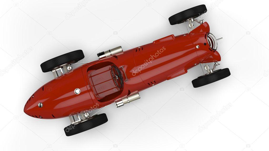 vue de dessus d 39 une vieille voiture de course rouge photographie gobliins 10946104. Black Bedroom Furniture Sets. Home Design Ideas