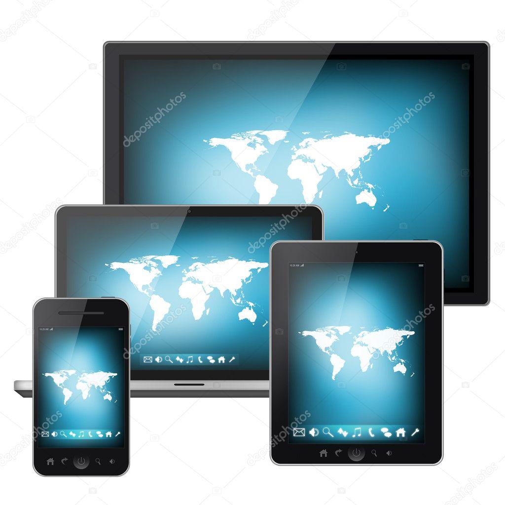 Tablet Pc E Cellulare Con Mappa Del Mondo Su Uno Schermo Isolato Su