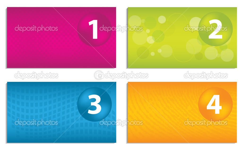 Set of colorful business cards with numbered buttons — Stock ...