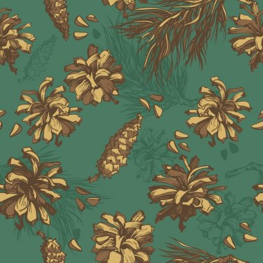 Forest background. seamless pattern with fir cones