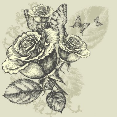 Floral background with butterflies and roses, hand-drawing. Vector illustration.