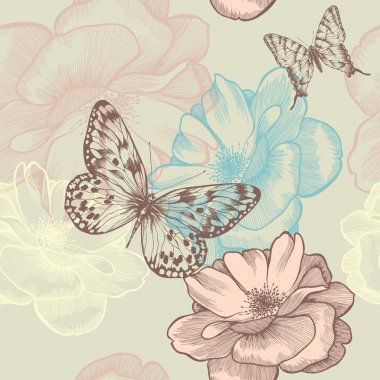 Seamless floral pattern with roses and butterflies, hand-drawing. Vector. clip art vector