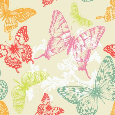 Seamless pattern with flying butterflies, hand-drawing. Vector illustration.
