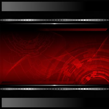 Technological red background with metallic banner. Vector illustration.