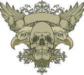 Totenkopf mit Flügeln und Doppeladler, Hand-Zeichnung. Vektor-illustration
