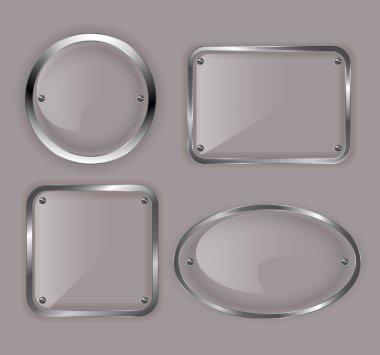 Set of glass plates in metal frames. Vector illustration.